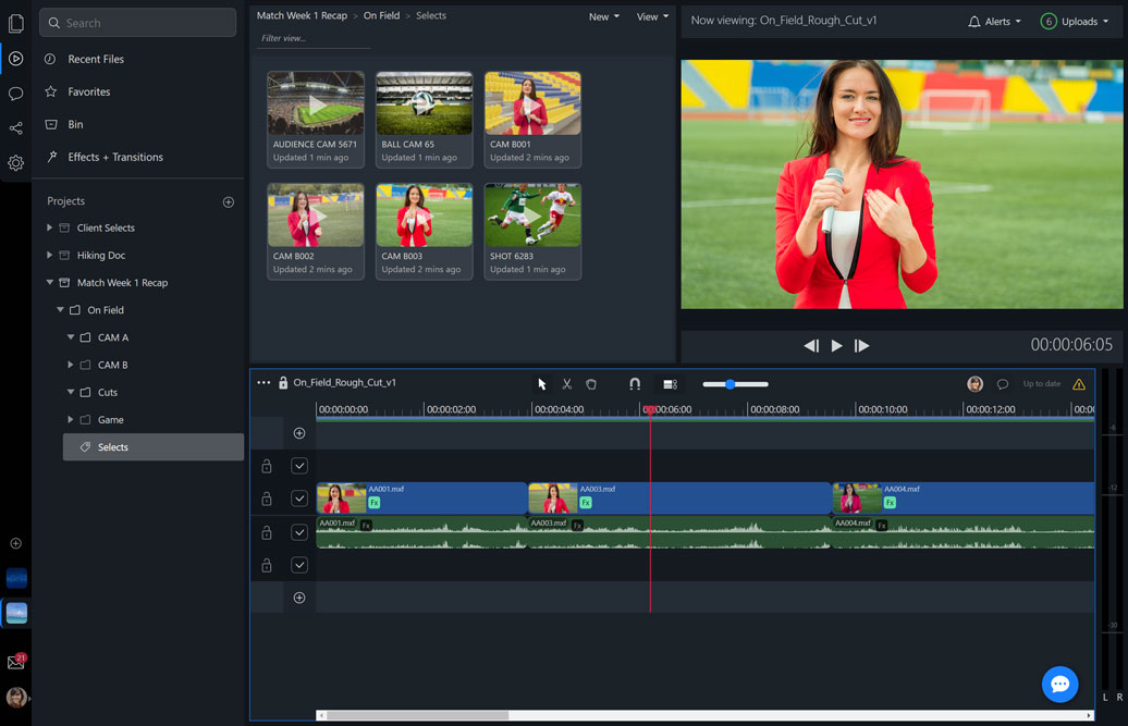 Editing a rough cut in a web browser, with interview footage and b-roll.