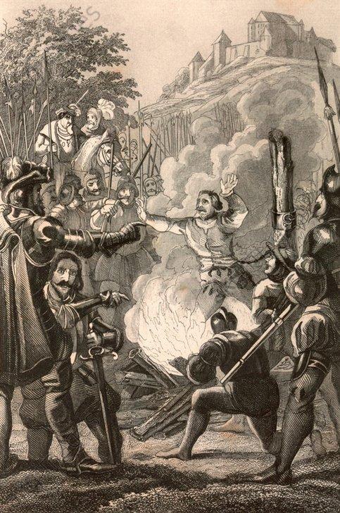 Bûcher d'un meneur de la révolte des paysans amusant les nobles