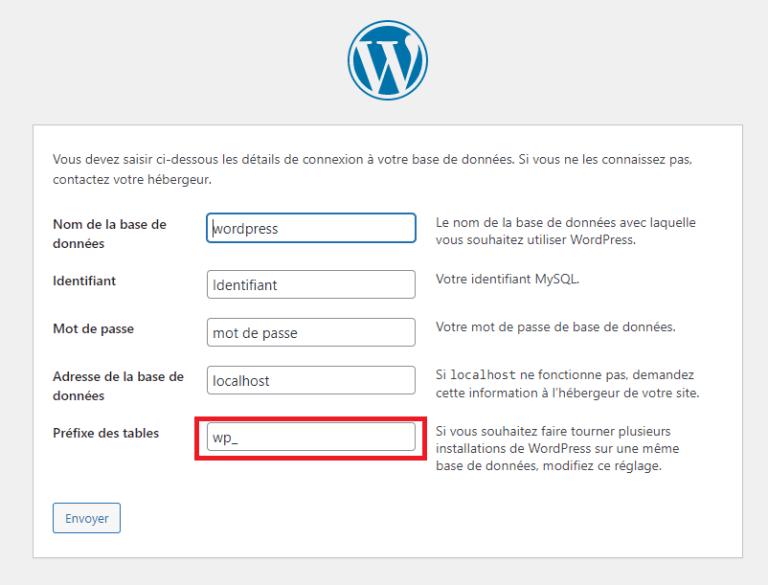 Champ préfixe des tables par défaut de WordPress