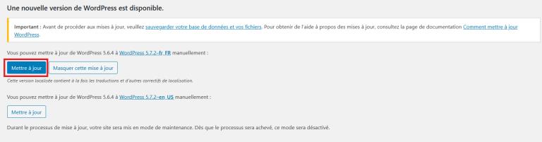 Mettre WordPress à jour : version française