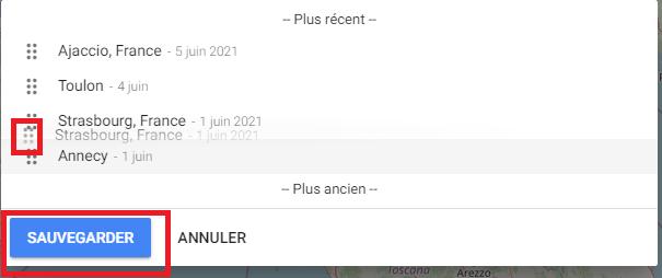 TravelMap : déplacer les points d'itinéraire