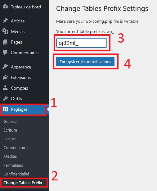 Utiliser un plugin WP Prefix Changer