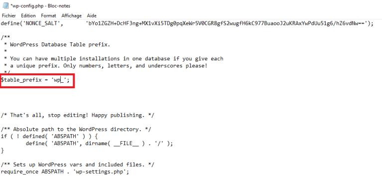 wp-config.php ligne de code préfixe avec wp_
