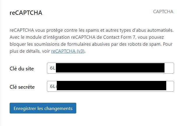 Les clés captcha dans Contact form 7