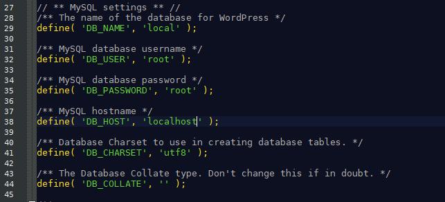 wp-config.php : les identifiants pour se connecter en local