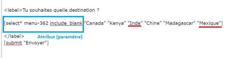 Contact form 7 : modifier le shortcode