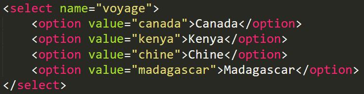 Code HTML d'une liste déroulante
