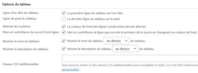 Réglage préprogrammés (CSS) de TablePress