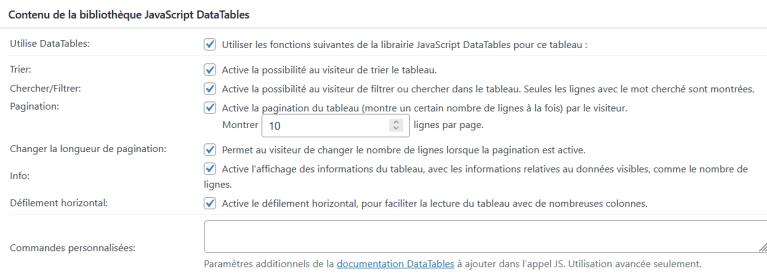 Réglage préprogrammés (JavaScript) de TablePress