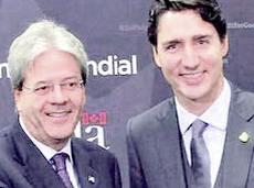 Gentiloni con il leader canadese Justin Trudeau