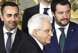 Mattarella tra Di Maio e Salvini