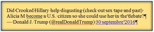 Tweet de D; Trump