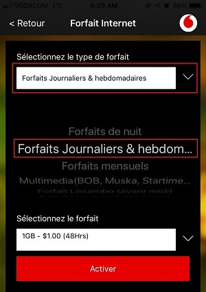 48heures d'Internet avec Vodacom-RDC App