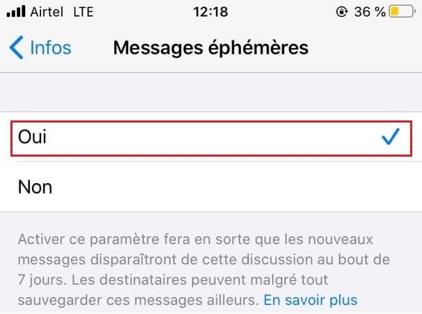 LibreManager.com L'activation des messages éphémères sur WhatsApp