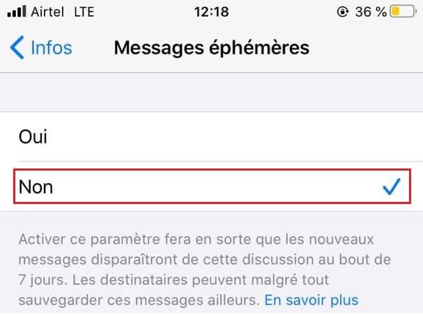 Désactivation des Messages éphémères sur WhatsApp