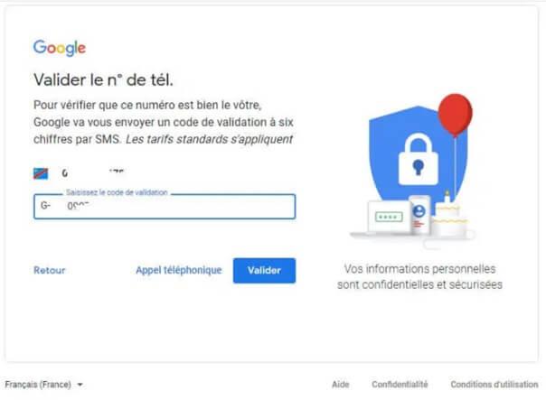 Créer un compte Gmail Gratuit et valider votre numéro de téléphone