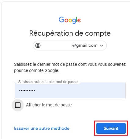 Récupérer le mot de passe d'un compte Gmail ou Google sur Libremanager