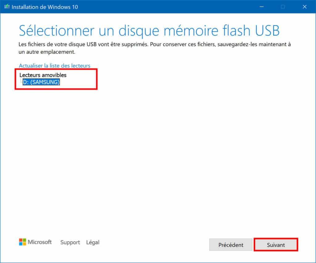 Sélectionner un disque mémoire flash USB à utiliser