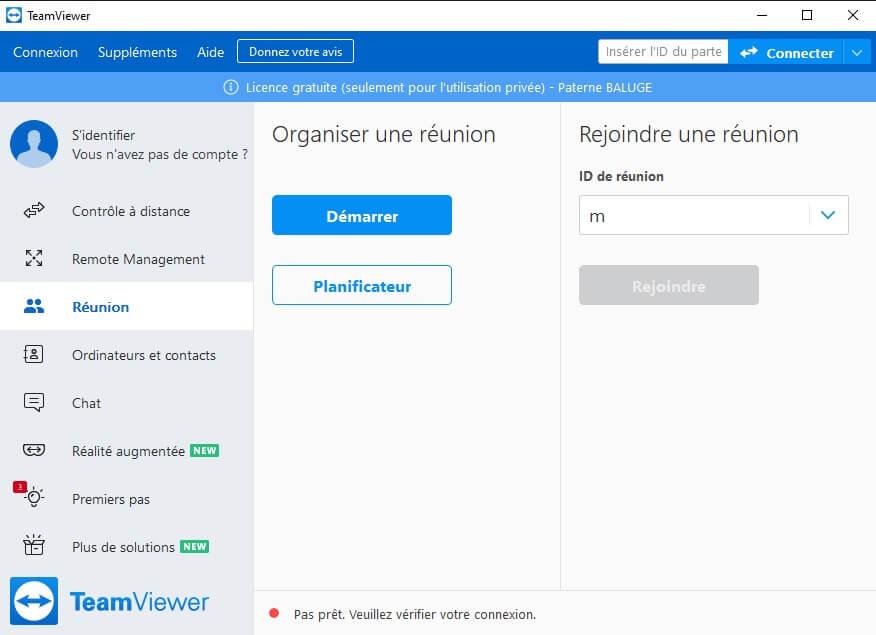 Interface d'accueil TeamViewer