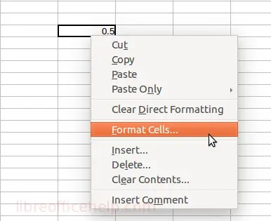 Format Cell Option in Context Menu