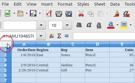 Select entire Sheet