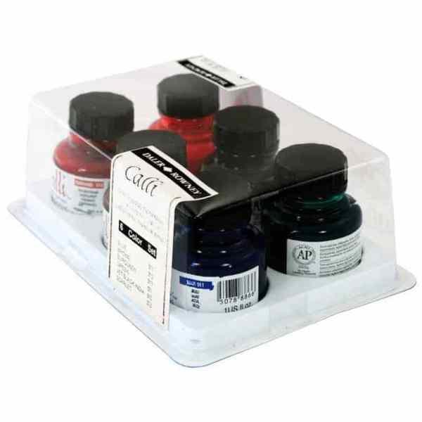 tintas para caligrafia set 6 colores de 29.5ml daler rowney