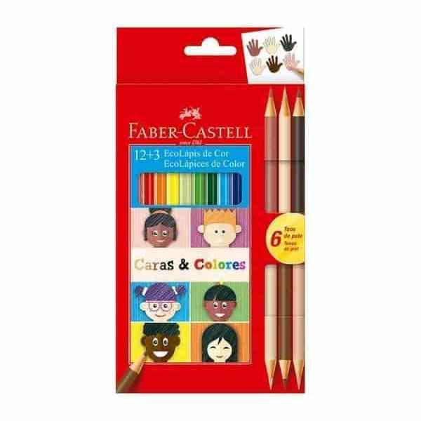 lapices caras & colores faber castell 12+3