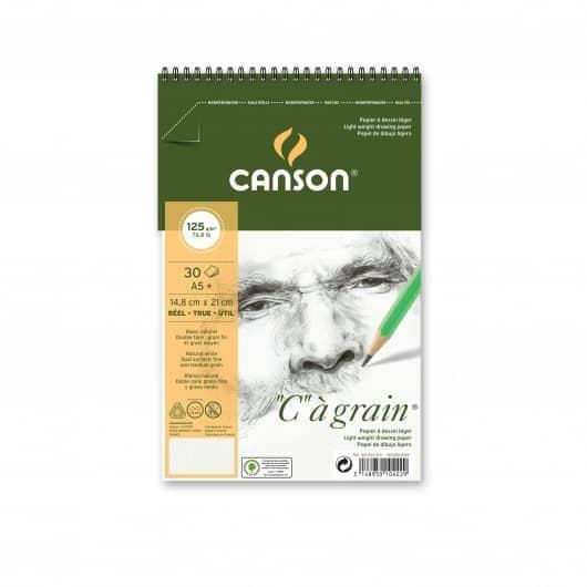 CROQUERA CANSON C AGRAIN TAMAÑO A5 30H 125GR PARA TÉCNICAS SECAS, DOBLE FAZ.