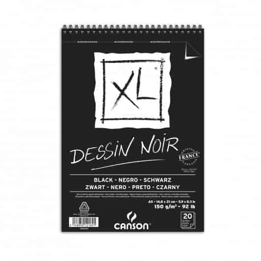 CROQUERA HOJAS NEGRAS CANSON XL BLACK A5 - PAPEL NEGRO DESSIN NOIR