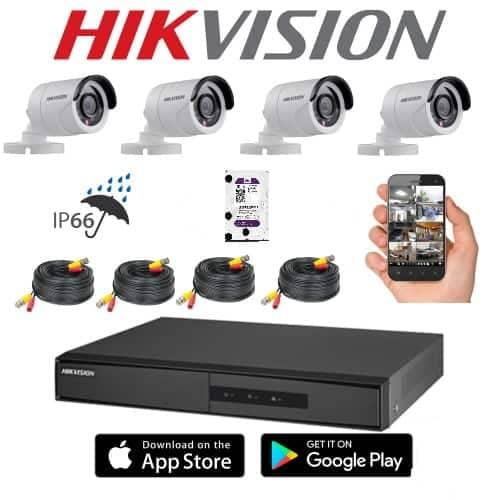 HIKVISION KIT TURBO HD 4CH+4BULLET IP66