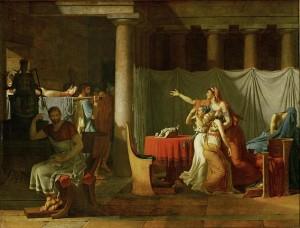 Les licteurs rapportent à Brutus les corps de ses fils, par Jacques-Louis David.