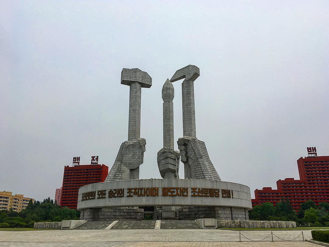 Pyongyang, Corée du Nord. Monument du Parti des travailleurs de Corée.