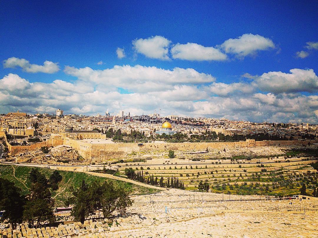 Esplanade du second temple. Jérusalem, Israël. Vue sur la vieille ville depuis le Mont des Oliviers.