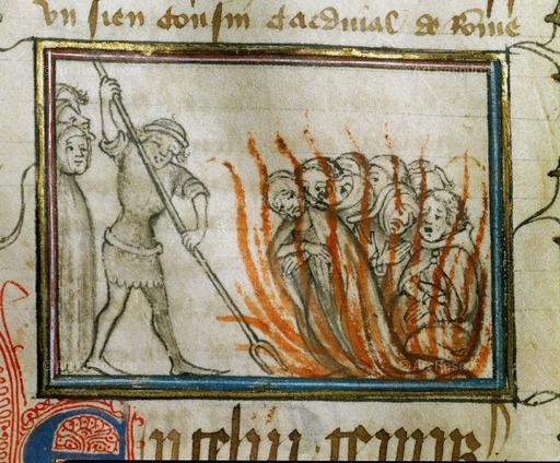 "Immolation of the Templars. Anonymous chronicle ""From the creation of the World until 1384"". MS 677, folio 75 recto, Bibliotheque Municipale, Besancon, France"