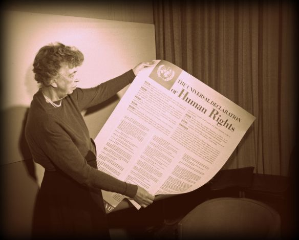 Eleanor Roosevelt holding the text of United Nations Universal Declaration of Human Rights, November 1949