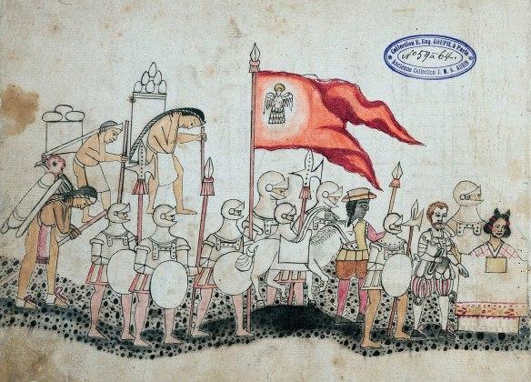 Cortés and La Malinche with conquistadors and conscripts. Codex Azcatitlan, folio 22v, Bibliothèque nationale de France.