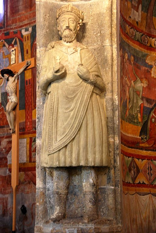 Charlemagne, 9th century statue, Benedictine Abbey of Saint John, Müstair, Switzerland.