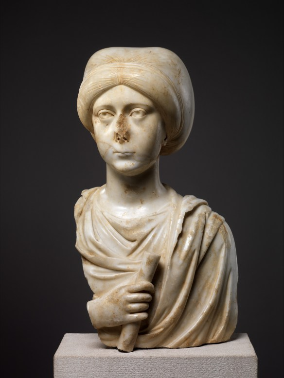 Marble Portrait Bust of a Woman with a Scroll, late 4th–early 5th century, Byzantine, Metropolitan Museum of Art, New York