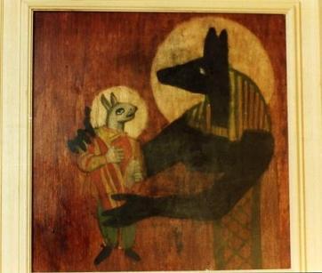 2. Anubi e il mostriciattolo carolingio (encausto su tavola)