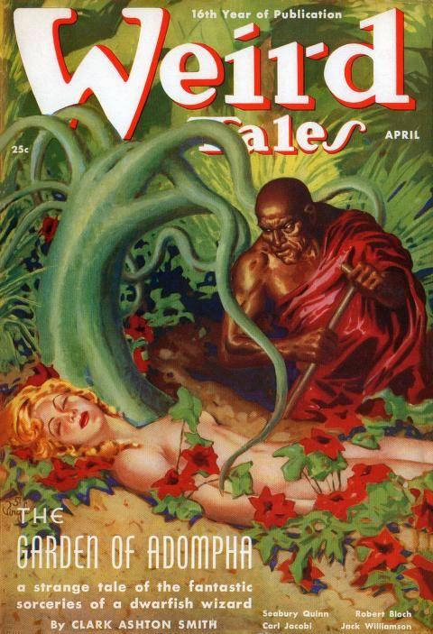 La copertina de Il giardino di Adompha disegnata da Virgil Finlay per Weird Tales