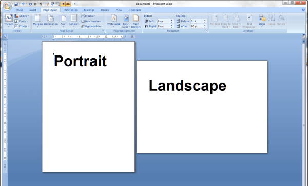 portrait and landscape orientation