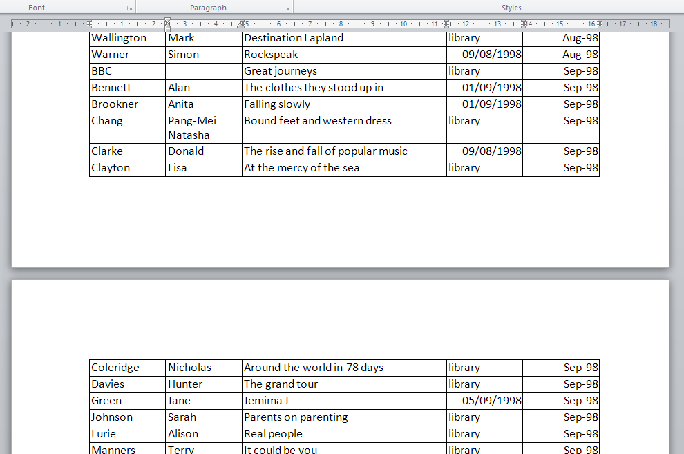 How do I keep my table headings over multiple pages in a