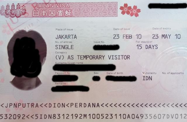 Contoh visa Jepang yang sudah jadi.