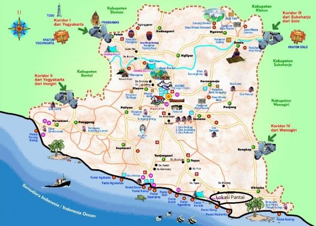 Peta lokasi 17 Pantai Cantik Di Yogyakarta Untuk Referensi Liburanmu.