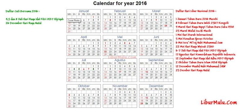 Ini Dia Kalender 2016 Indonesia lengkap dengan Jadwal Libur Nasional Dan Cuti Bersama 2016 (kalender 2016 indonesia ini juga bisa di download dengan klik gambar Kalender 2016 ini).