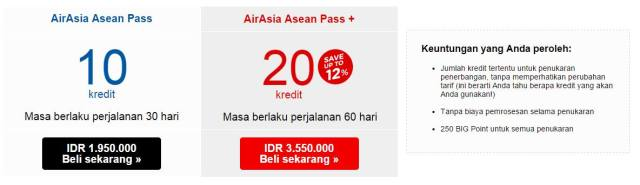 Type and price of Air Asia Asean Pass.