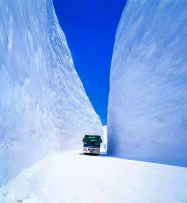 Untuk menuju koridor salju Murodo harus naik bis.
