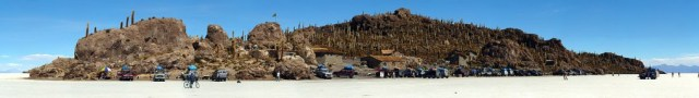 Pulau Incahuasi yang ada ditengah Salar De Uyuni