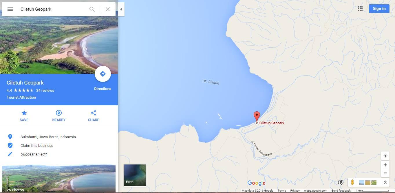 Peta Lokasi Alamat Geopark Ciletuh Sukabumi