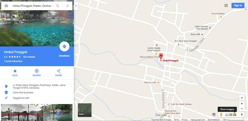 Peta lokasi Umbul Ponggok Klaten Yogyakarta di Google maps klik disini